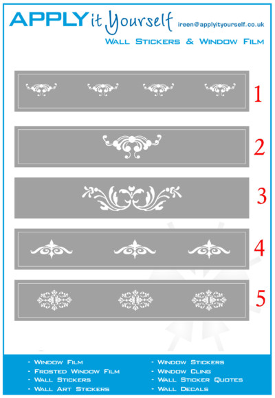 frosted window film, ornaments, classic, designs, border, 2012-000224