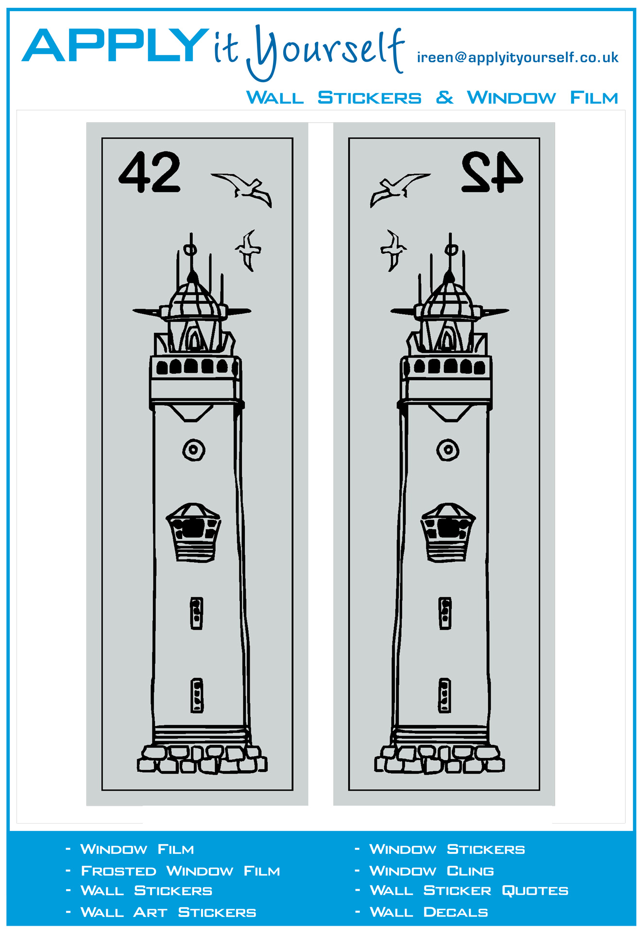 Frosted Window Film Print Lighthouse Street Number