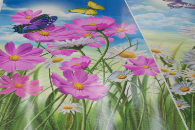 one-way vision window film, custom, flowers, closeup