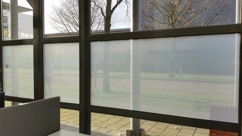 perforated window film, applied inside, without print, increase privacy, inside