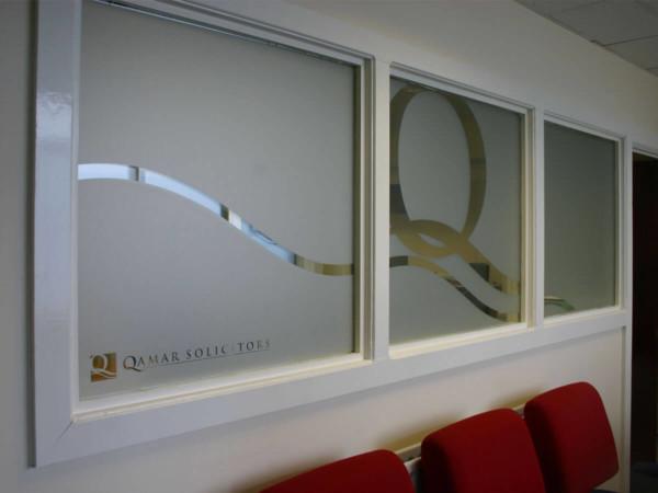 Frosted window film cut (1), bespoke, design, company, logo, across, multiple, windows, frosted window film