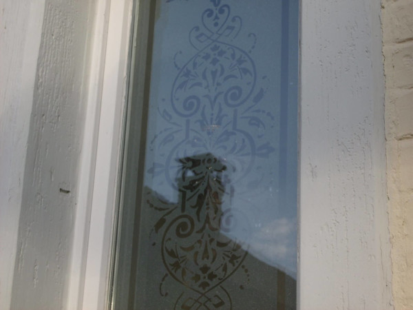 Frosted window film cut (1), custom, design, front, door, ornaments