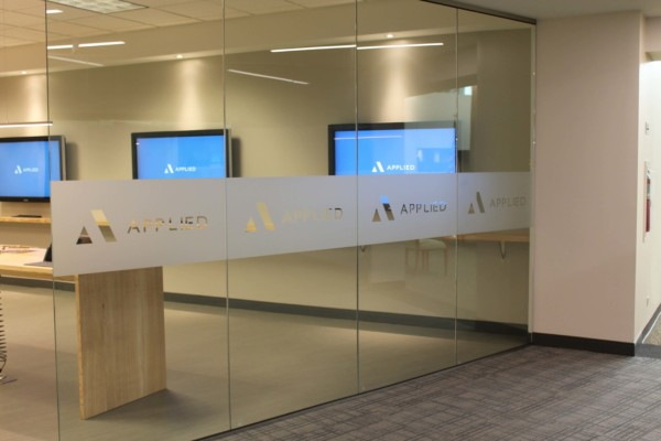 Frosted window film cut (1), custom, name, and, logo, on, store, glass, in, frosted, film