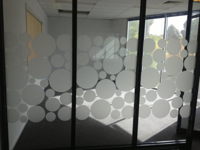 Frosted window film cut (1), custom, window, film, circles, partial, privacy