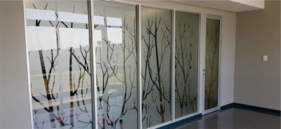 Frosted window film cut (1), frosted, glass, film, with, branches, cut, away, custom, design
