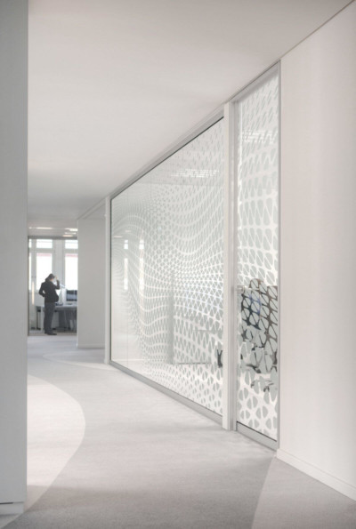 Frosted window film cut (1), frosted, window, film, bespoke, office, abstract, flowing, design