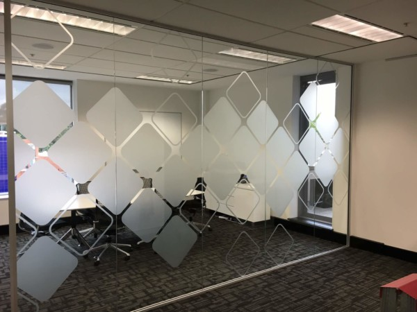 Frosted window film cut (1), frosted, window, film, wtih, custom, pattern, for, the, conference, room, round, squares