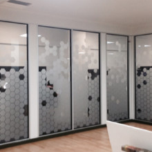 Frosted window film cut (1), honeycomb, hexagon, custom, frosted, glass, film, for, the, office