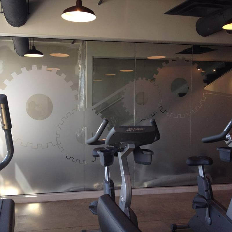 Frosted window film cut (1), partial, privacy, custom, design, frosted, film, on, glass, wall
