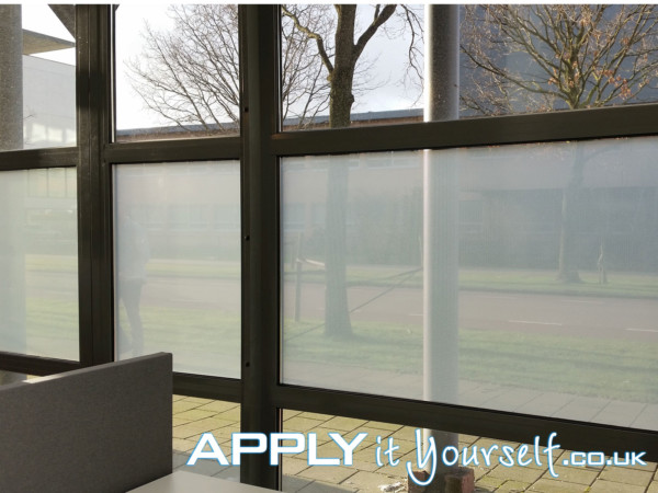Two way vision, window film, perforated frosted window film, partial privacy