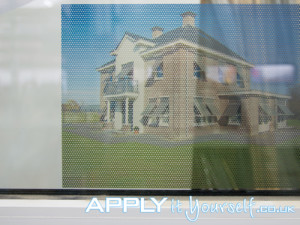 Two way vision, window film, perforated frosted window film, back