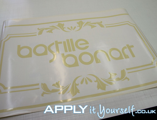 Bespoke, door, logo, creme, window decal