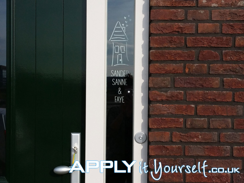 bespoke, window decal, front door, white, small
