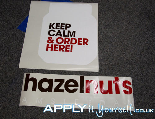 Complex, custom, window decals, multiple colours, logo