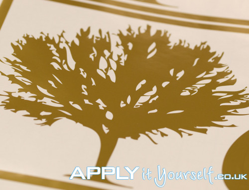 Custom, gold, decal, tree, window decal