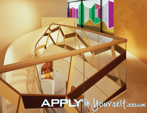 custom, window decals, staircase, multiple colours