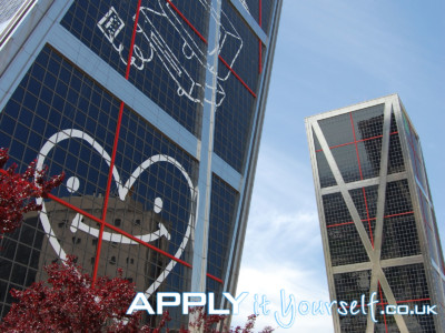 giant, custom, window, decals, white, multiple buildings