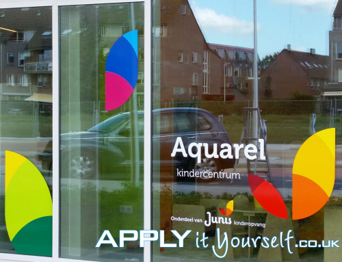 large, complex, custom, window decals, multiple colours, multiple windows