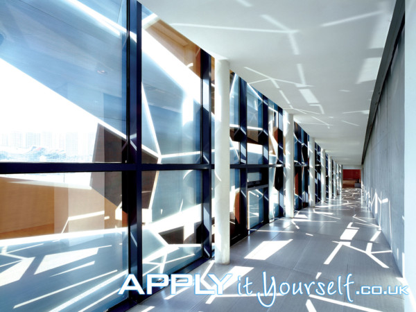 large, window decals, hallway, multiple windows, inside