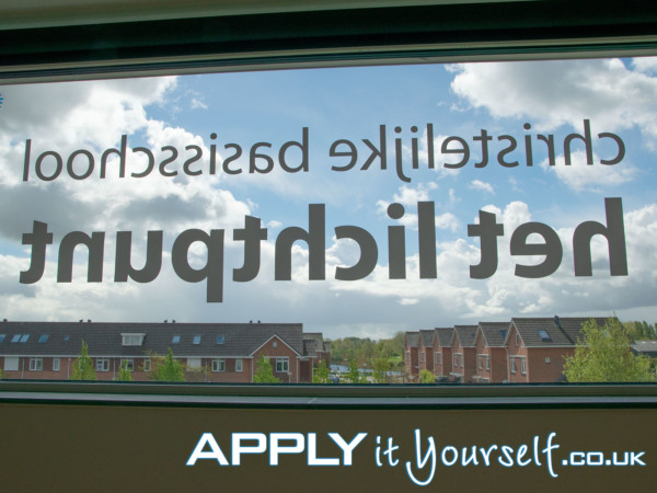 reverse window sticker, decal, large, school, inside looking out