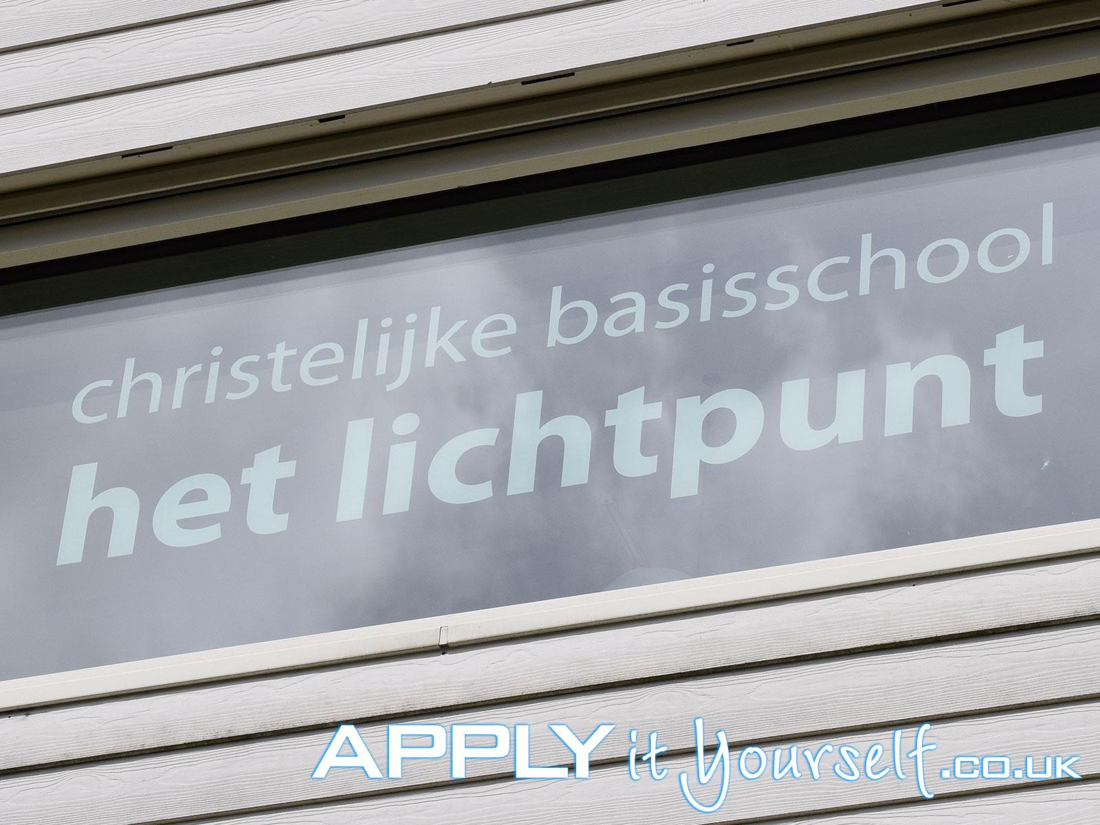 reverse window sticker, decal, large, school, white, outside
