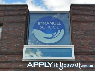 reverse window sticker, logo, large, school