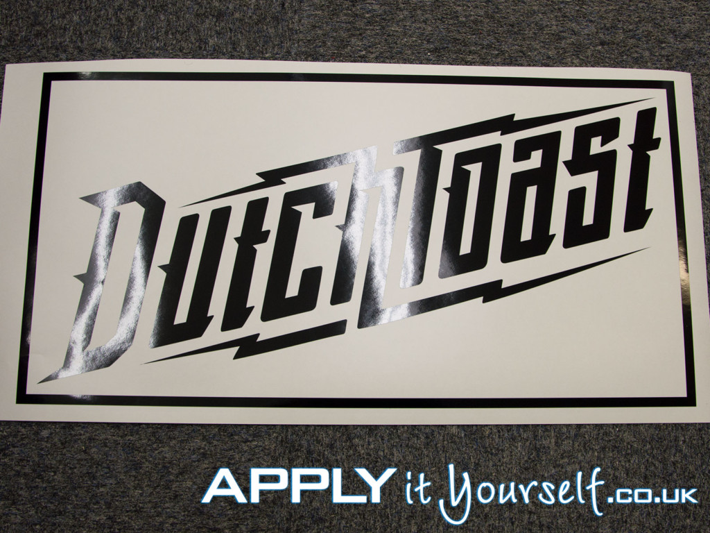 small, custom, black, window decal, vinyl, logo, cut-to-shape