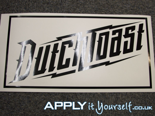 small, custom, black, window decal, vinyl, logo, cut-to-shape