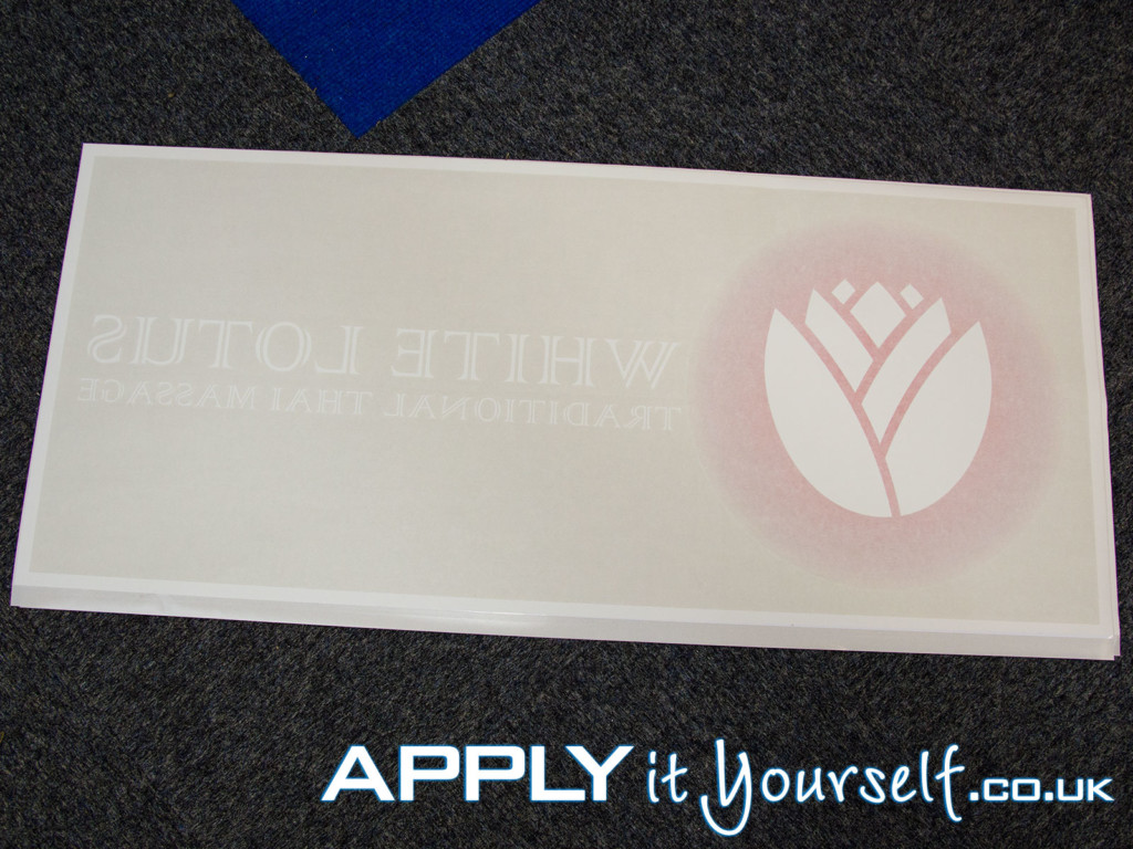 window decal, white, transparent window film, rode print