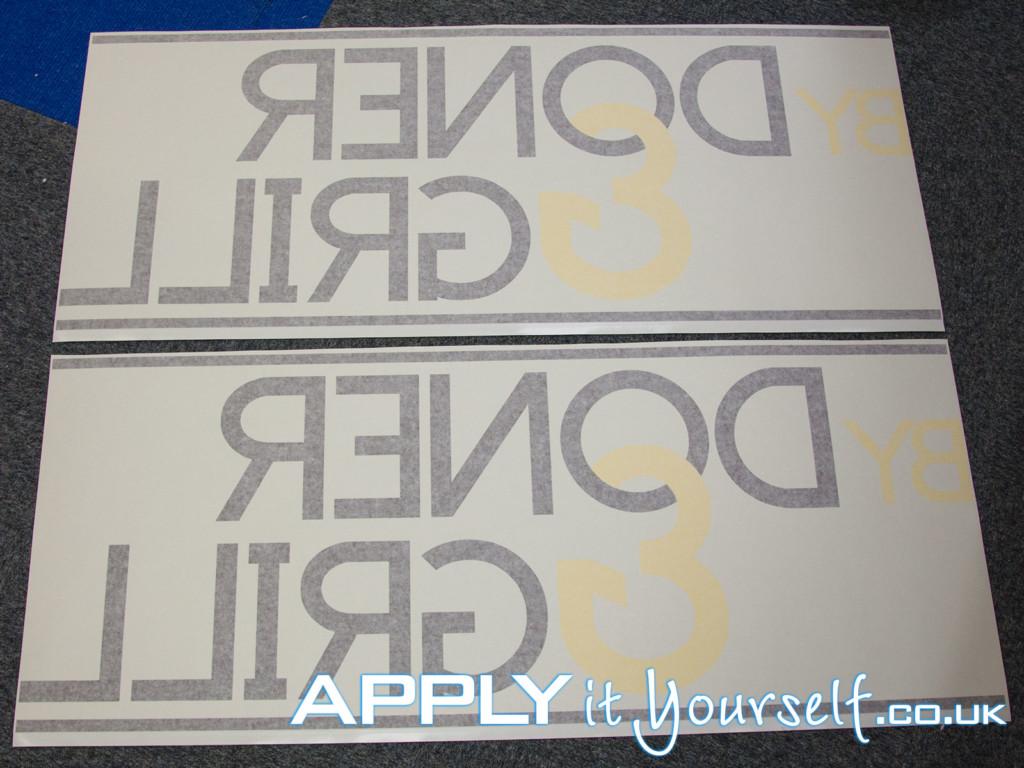 window decal, 2 colours, custom, logo, black, yellow, reverse window sticker