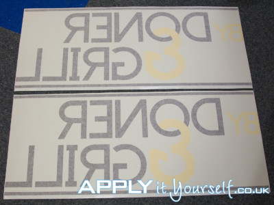 window decal, 2 colours, custom, logo, black, yellow, reverse window sticker
