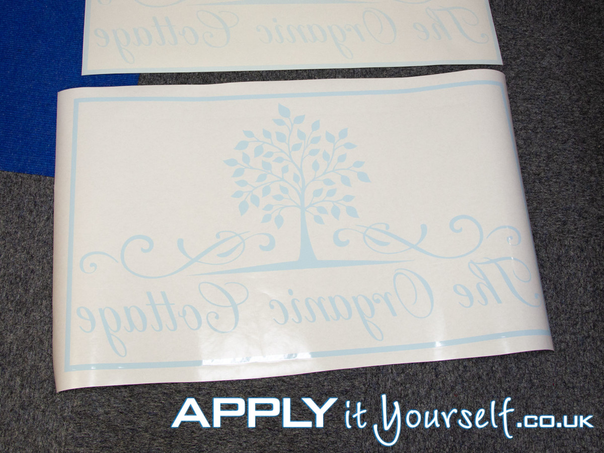 window decal, blue, white, custom, logo, tree