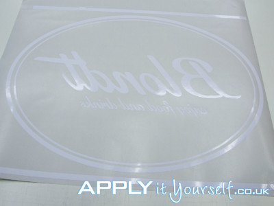 window decal, white, custom, logo