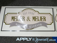 window sticker, corporate, logo, cut-to-shape