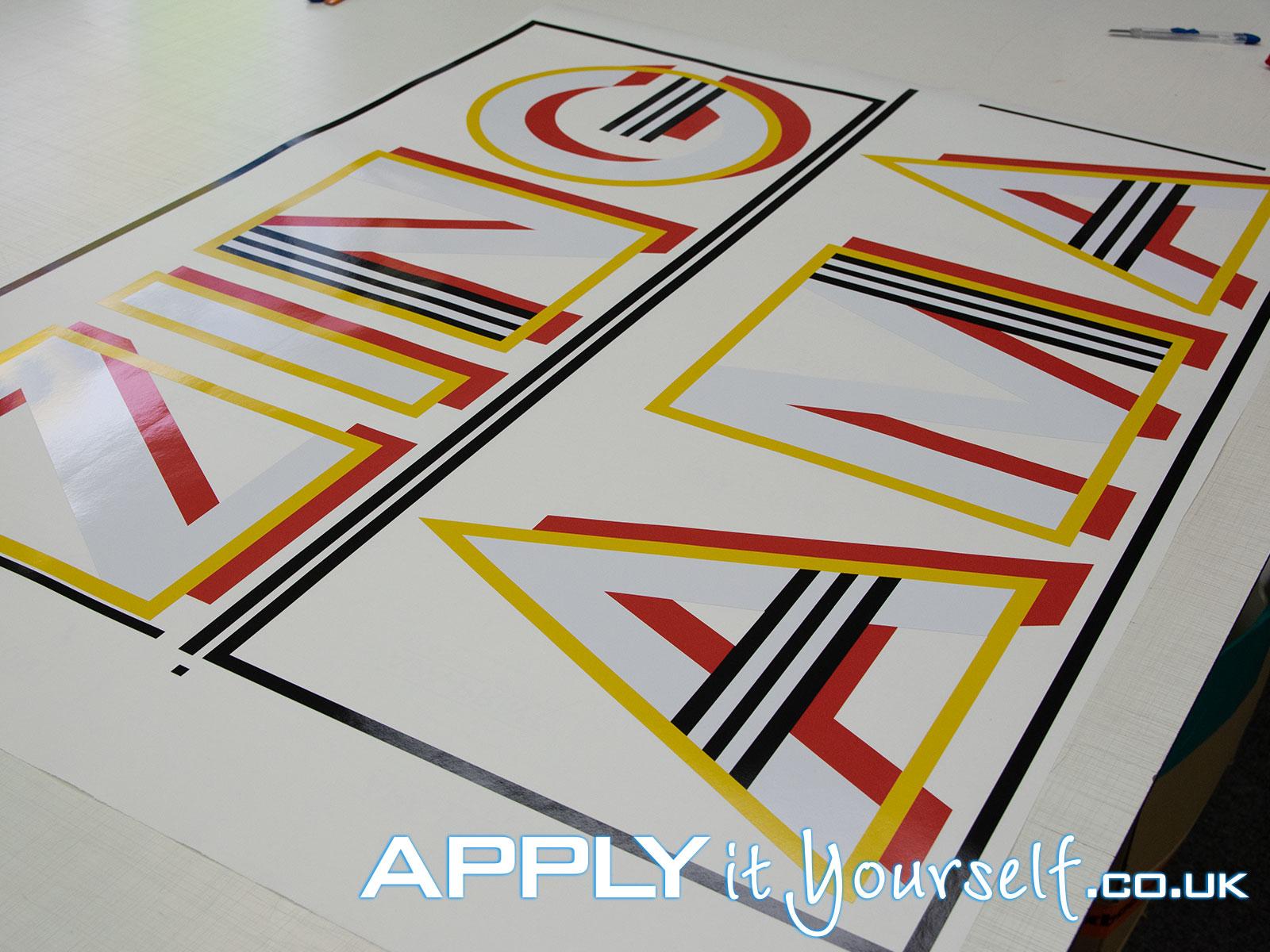 window sticker, corporate, name, logo, large, cut-to-shape