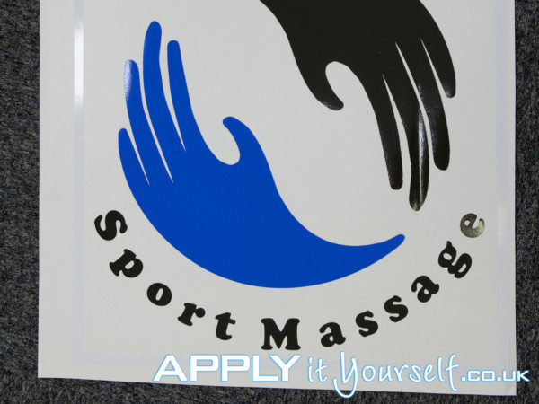 window sticker, logo, cut-to-shape