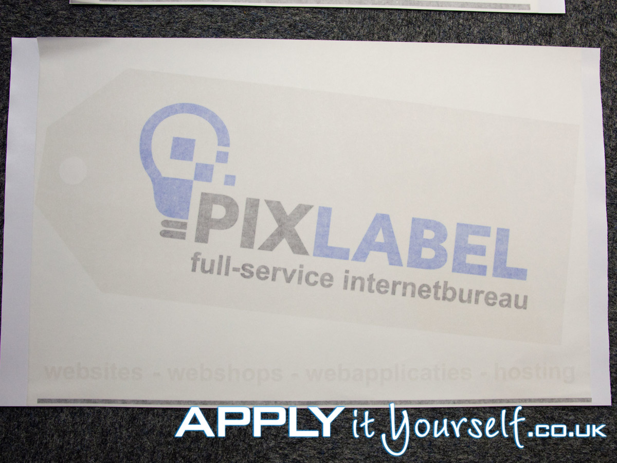 window sticker, logo, cut-to-shape, with, transfer tape