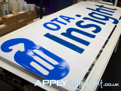 window sticker, logo, large, blue, cut-to-shape