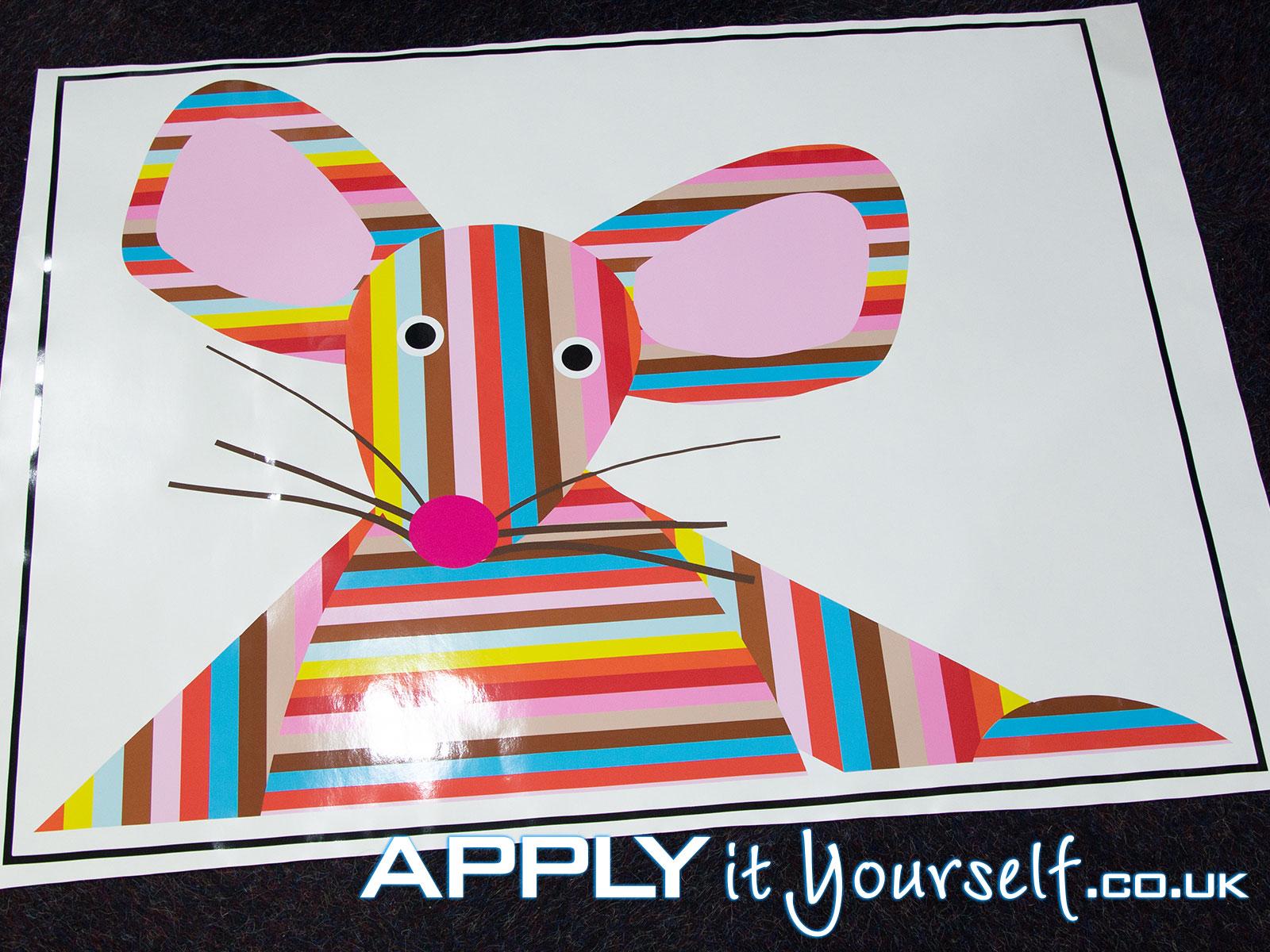 window sticker, logo, mouse, branding, stripes, cut-to-shape