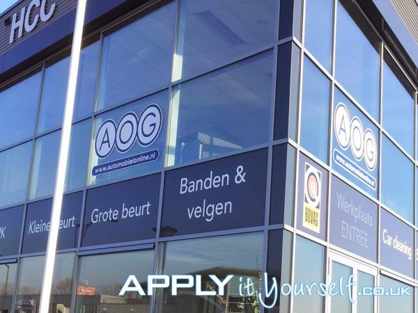 window stickers, branding, logo, large office, building, outside