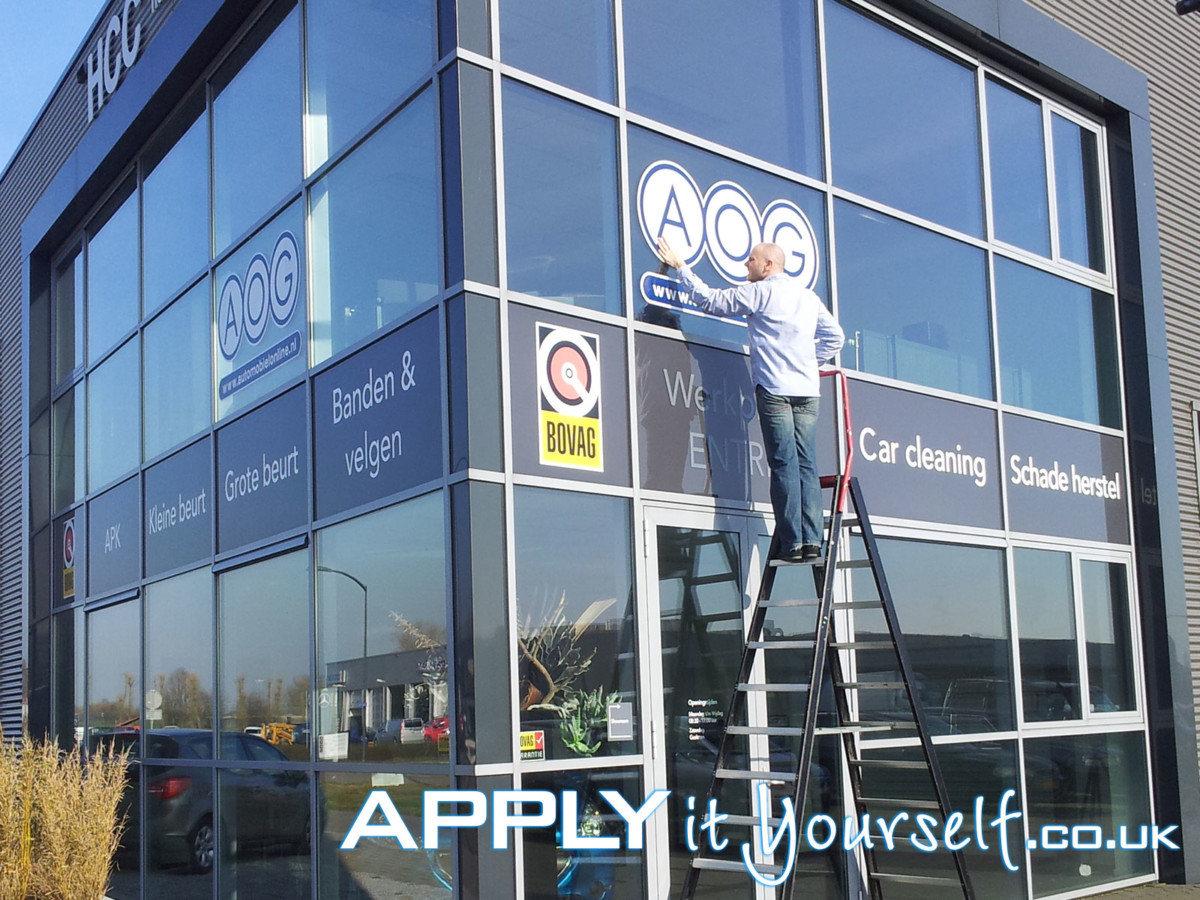 window stickers, branding, logo, office building, double glazing