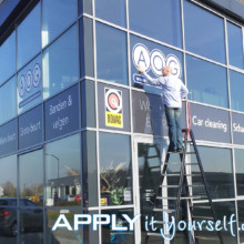 window stickers, branding, logo, office building, double glazing