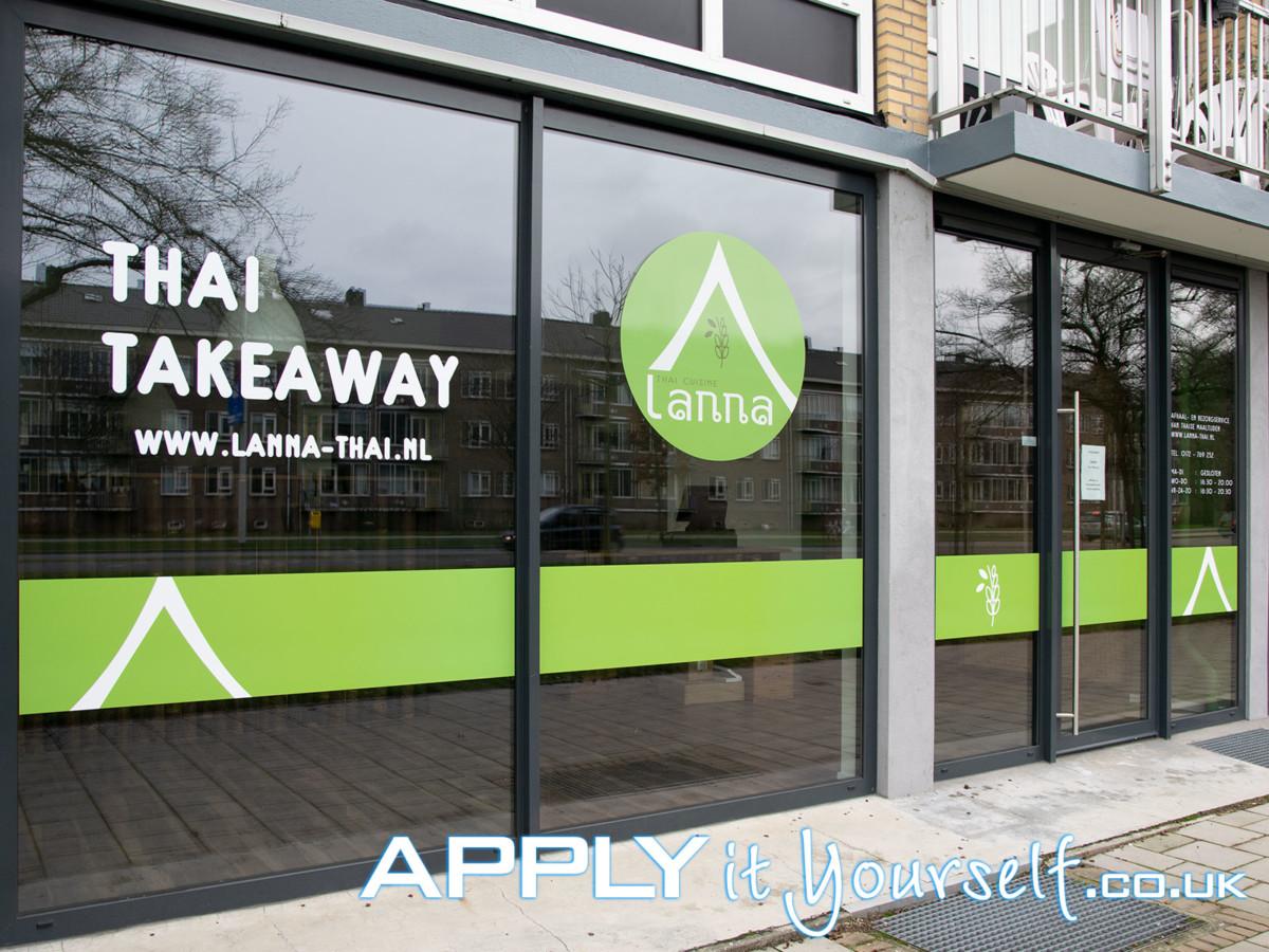 window stickers, branding, logo, store front