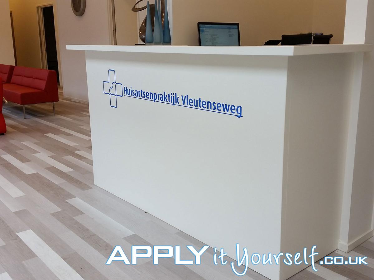 wall, decal, logo, reception, desk, blue