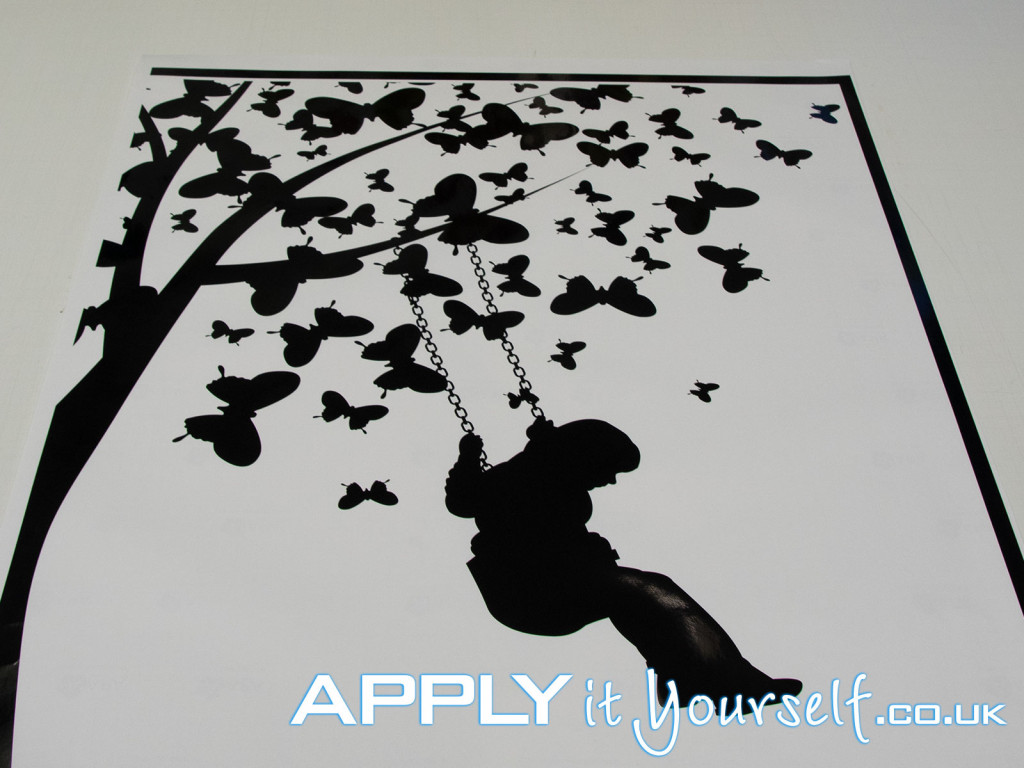 wall, decal, medium, black, tree, butterflies