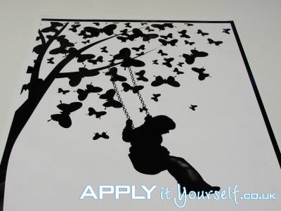 wall, decal, medium, black, tree, butterflies