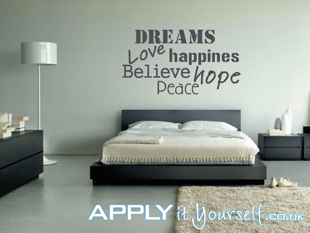wall, decals, large, dark, grey, quote, bedroom, dreams love happiness believe hope peace