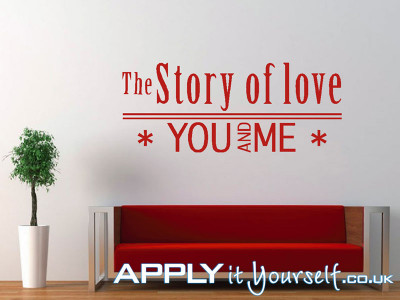wall, decals, large, red, quote, livingroom, the story of love, you and me