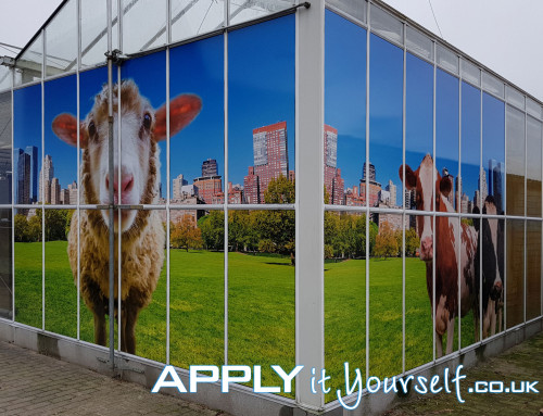 large, wall stickers, multiple windows, outside, outdoor, sheep, cow, window stickers, bespoke design