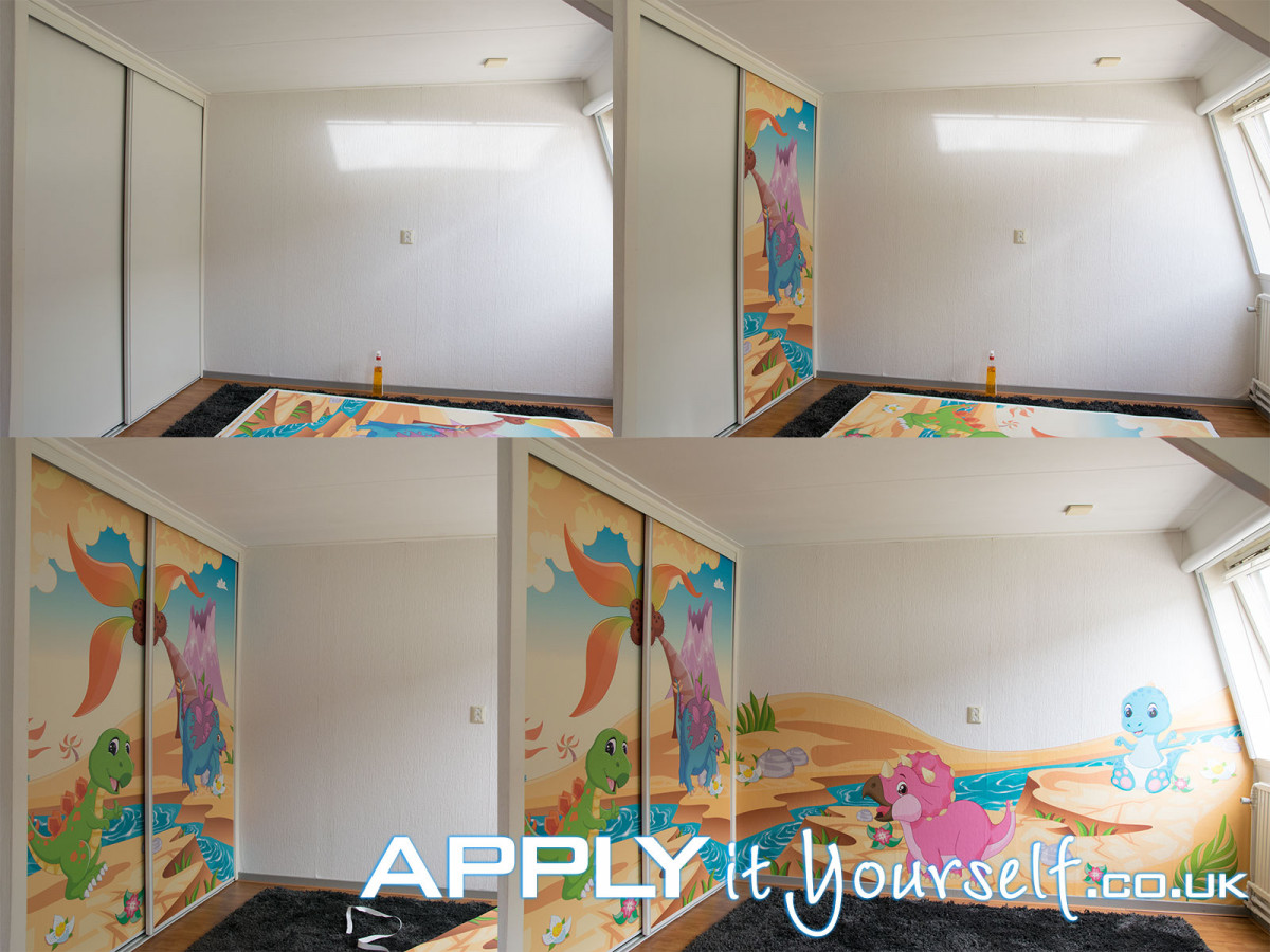 wall mural, installation, large, sticky textile, prints, cut-to-shape